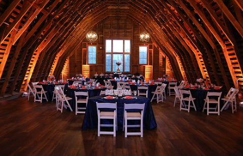 The Upper Level Barn - Wedding Reception with Up Lighting| 48 Fields Farm in Leesburg VA