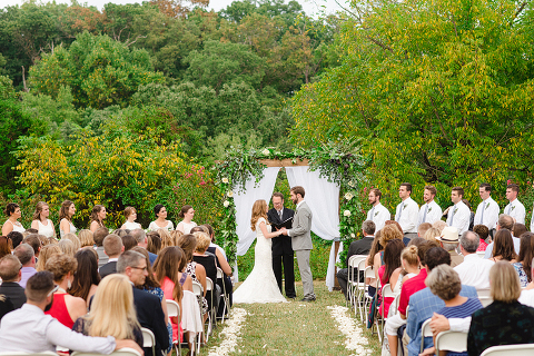 Dusty Blue and Sage Greenery Outdoor Wedding Ceremony at 48 Fields Farm in Leesburg VA